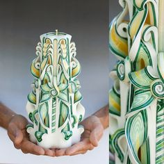 Green and white candle Carved candles Large by primacandle