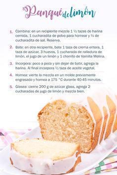 Prepara un delicioso #panqué de #limón en tan solo 5 pasos. Ingredientes: 1 ½ tazas de harina, 1 cucharadita de polvo para hornear, ¼ de cucharadita de sal, 1 taza de crema entera, 1 taza de azúcar, 3 huevos, 1 cucharada de ralladura de limón, el jugo de un limón y 1 chorrito de #Vainilla Molina,  ½ taza de aceite vegetal, 200 g de azúcar glass, 2 cucharadas de jugo de limón. #receta