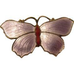 Vintage Sterling Silver & Purple Enamel Butterfly Pin Brooch by John Atkins & Son