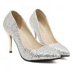 Sexy Women's Pumps With Pointed Toe and Sequined Design