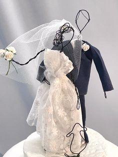 Whimsical Wedding Cakes, Elegant Wedding Cakes, Beautiful Wedding Cakes, Unique Weddings, Cat Wedding, Blue Wedding, Wedding Ideas, Unique Cake Toppers, Custom Cake Toppers