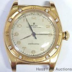 Unusual 3372 18k Gold Rolex Bubbleback Chronometer Vintage Genuine Diamond Watch #Rolex #Sport
