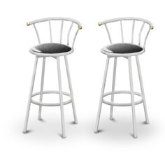 "2 Glitter Black Vinyl Specialty / Custom White Barstools with Backrest Set by The Furniture Cove. $145.87. Set of 2 Bar Stools. White Metal Finish. These are new, 24"" White bar stools with footrests and swivel seats with a backrest! These Feature Glitter Black Vinyl seats that are cool and unique. The pads are 14"" across and the seat is 24"" tall. The entire height is 35"". The sides of the seat have nice metal work and there are feet protectors on the bottom of ea..."