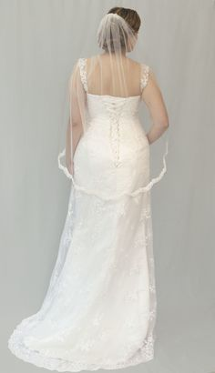 Madeline, size 14-16. RRP: £1000, now £500 - Guipure lace overlay with straps. Available to try on at Betty Gets Hitched.