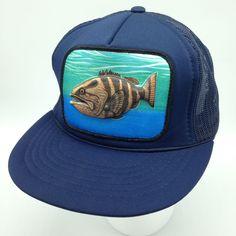 32e90118414 Vtg Largemouth Bass Snapback Mesh Trucker Hat Cap Raised Puffy Foam Fish  Fishing  CapMan  Trucker