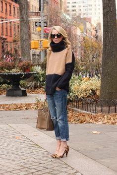 Stripe sweater boy friend jeans leopard heels