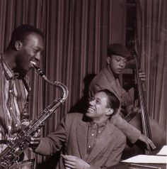 Hank Mobley, Horace Silver, and Doug Watkins during a rehearsal for Hank Mobley & His All Stars session, NYC January 13, 1957