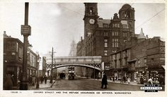 Oxford Street, manchester Manchester Oxford Road, Manchester Street, Manchester England, Old Pictures, Old Photos, Old M, Salford, Oxford Street, Vintage London