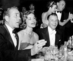 """Bacall gave the name """"Rat Pack"""" to this famous group of pals. Bogie was the original """"leader of the pack""""; Sinatra took over that position when Bogie died. One-of-a-kind actors, and one-of-a-kind personalities! Hollywood Stars, Classic Hollywood, Old Hollywood, Marilyn Monroe, Bogie And Bacall, Joey Bishop, Old Movie Stars, Humphrey Bogart, Lauren Bacall"""