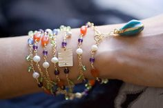 Turquoise Beaded Necklace with Peridot Amethyst от jaunebleu