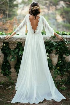 Lace Backless Wedding Dress,Vintage Wedding Dress,Long Sleeve Bridal Gown,V Back Lace Chiffon Wedding Dress is part of Wedding dress sleeves Shop for lace backless Boho wedding gowns right now! Perfect Wedding, Dream Wedding, Trendy Wedding, Forest Wedding, Relaxed Wedding, Garden Wedding, Wedding Spot, Magical Wedding, Woodland Wedding Dress