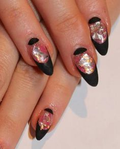 Glitter Nail Designs gel | gel-nail-art-glamorous-shiny-glitter-nail-art-design-ideas-with-black ...