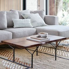 Naturally occurring color variations, beautifully winding wood grains and fresh raw edges give our Harbor Live Edge Coffee Table its unique look. Resting atop beautifully complementary Y-shaped steel legs, it's the perfect home for drinks, books a… Teen Furniture, Small Furniture, Furniture Decor, Furniture Shopping, Furniture Legs, Metal Furniture, Modern Furniture, Coffee Table Rectangle, Coffee Tables