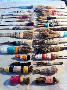 Some of my hand made brushes Lorna Crane AUSTRALIA, artist studio, studio space, art studio Painting Tools, Fabric Painting, Painting & Drawing, Journal D'art, Art Textile, Mark Making, Art Plastique, Teaching Art, Art Techniques