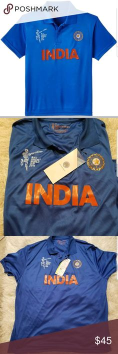 NWT 2015 ICC Cricket World Cup India Jersey World NWT 2015 ICC Cricket World Cup India Jersey World Twenty20 Jersey XXL    Brand new item.   Size is XXL - looks like it fit a large or xl though.   Measurements  21inches armpit to armpit  armpit to hem 15.5   Thanks for looking! Cricket Shirts Polos