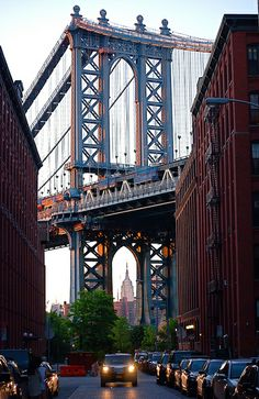 Manhattan Bridge and the Empire State Building, NYC