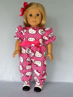 18 inch doll rompers. Fits American Girl Dolls.  by ASewSewShop