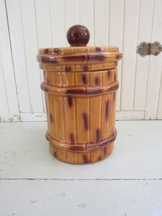 Vintage McCoy Ceramic Cookie Jar Pottery Bamboo