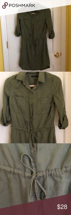 MAX JEANS Utility Style Dress Utility style dress. Buttons all the way down with a tie at the waist to be able to cinch waist in. Never worn but tags were removed. Cute army green color! Max Jeans Dresses