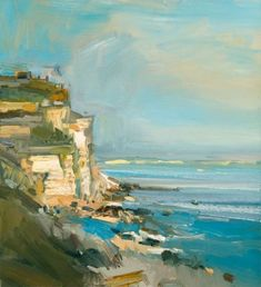 David Atkins: The Sea and Cliffs, Portland, Dorset Campden Gallery, fine art, Ch. Great Paintings, Seascape Paintings, Beautiful Paintings, Contemporary Art Artists, Modern Art, Landscape Art, Landscape Paintings, Landscapes, Art Gallery Uk
