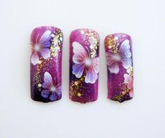 Nail Art by Pisut Masanong Butterfly Nail Designs, Butterfly Nail Art, Nail Art Designs, Airbrush Nails, Animal Nail Art, Nail Candy, Elegant Nails, Beautiful Nail Designs, Creative Nails