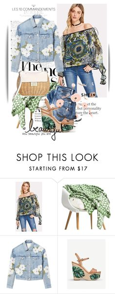 """""""SHEIN Ornate Print Contrast Binding Ruffle Bardot Top"""" by maja-k ❤ liked on Polyvore featuring Rebecca Taylor, MICHAEL Michael Kors, Etiquette and Kate Spade"""