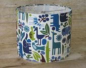 Drum Lamp Shade Lampshade made with Alexander Henry 2D Zoo in Pool Blue