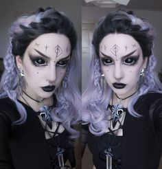 """manic-moth: """" http://manic-moth.tumblr.com/ I don't know how this happened but it seems like I accidently deleted this post :'(. So, here's it again ^^. The Runes makeup that I did a while ago (*´ ˘ `*) ♡. The wig is from uniwigs, the necklace from..."""
