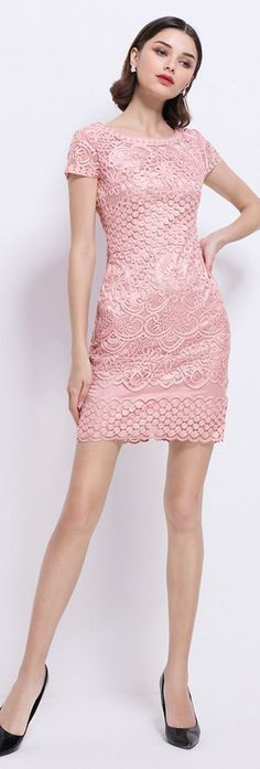Pink Embroidered Sheath Dress
