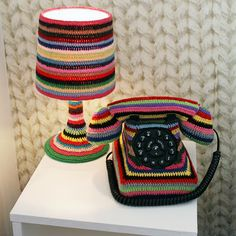 Rebecca's Crochet Blog: Crocheted Lamp and Phone in England