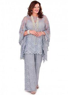 ce8a83076d3b8 Gorgeous Pant Suits Lace Bateau Neckline Cape Sleeves Mother Of The Bridal  Dresses Mothers Dresses