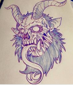 Krampus tattoo Tattoo Sketches, Tattoo Drawings, Body Art Tattoos, Art Drawings, Graffiti, Arte Horror, Dope Art, Skull Art, Art Reference