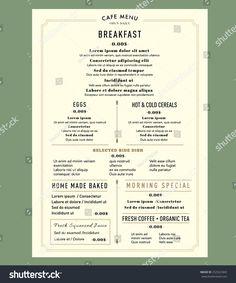 Menu Design for Breakfast Restaurant Cafe Graphic Design Template layout Vintage style