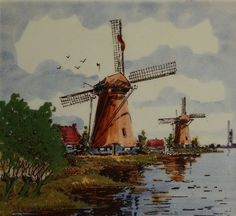 Vintage Delft Blue Windmill Tile, Dutch Handcraft, Hand painted, Made in Holland.