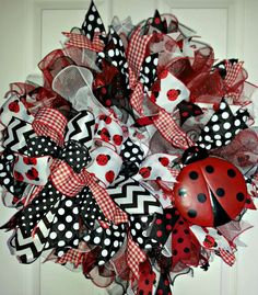 Red White Black Lady Bug Mesh Wreath by Debmarkcreations on Etsy
