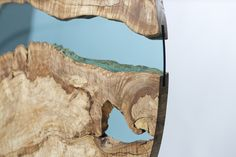 """a river runs through it!dramatic wall-hung sculpturemade from remarkably spalted maple34"""" roundspalted maple, glass*one-of-a-kind*(the sculpture hangs on hidden french cleats - not rope)"""