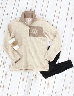 Closet MUST HAVE. Monogrammed Marleylilly Sherpa Pullover | https://marleylilly.com/product/monogrammed-sherpa-pullover/