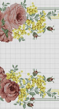 Cross Stitch Rose, Cross Stitch Flowers, Cross Stitch Embroidery, Needlepoint Canvases, Stitch Design, Sewing Clothes, Vintage Prints, Embroidery Designs, Needlework