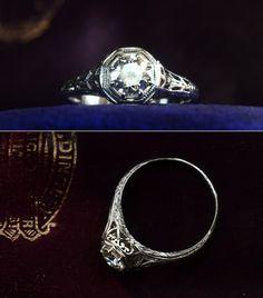 1910-20s Art Nouveau 0.46ct European Cut Diamond Filigree Ring