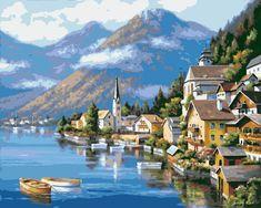 Landscape Pictures, Landscape Art, Landscape Paintings, Lakeside Village, Alpine Village, Belle Image Nature, Art Carte, 5d Diamond Painting, Paint By Number