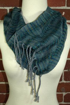 Cotton Handwoven Spaced Cowl  Blue Variegated & Gray by weavelea, $48.00