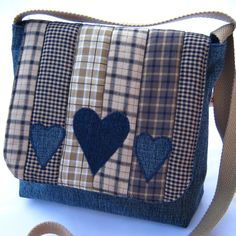Denim patchwork messenger bag от DaisyPatchUK на Etsy