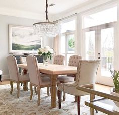 @dukemanorfarm Dining Room Features Pottery Barn Clarissa Crystal Chandelier