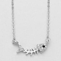 Rhinestone Fish Bone Pendant Necklace - Silver