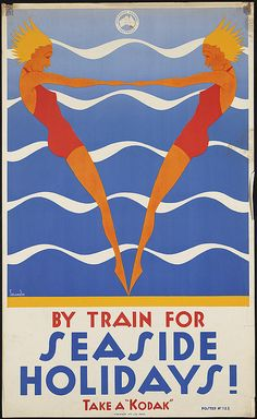 "Can you imagine resisting this poster when you're buying a train ticket? Via Chance Co. poster By train for seaside holidays! Take a ""Kodak"" Vintage Advertising Posters, Retro Poster, Art Deco Posters, Vintage Travel Posters, Vintage Advertisements, Vintage Ads, Poster Prints, Poster Wall, Art Print"