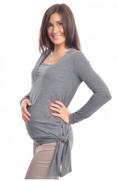Tunică gri: pentru gravide şi alăptare Pregnant Clothes, Tunic Tops, Turtle Neck, Sweaters, Women, Fashion, Pregnancy Style, Moda, Sweater