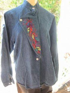 Vintage Blouse Top Denim 80s Cowgirl Western by WeeBitUsed on Etsy