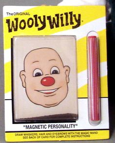 Wooly Willy / Metal shavings that you move around with the magnet wand to make him have hair.