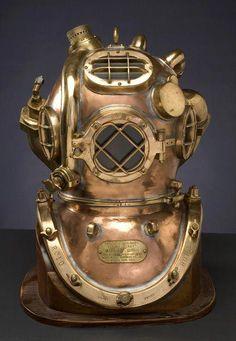 Rare US Navy Twelve-Bolt Hard Hat Diving Helmet with Helium Tank Scuba Diving Gear, Diving Suit, Sea Diving, Zeppelin, Diver Down, Deep Photos, Deep Sea Diver, Helium Tank, Diving Helmet