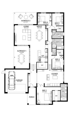 Lenswood 337 - Rivergum Homes Master bedroom layout 4 Bedroom House Plans, Dream House Plans, Modern House Plans, Modern House Design, House Floor Plans, New Home Designs, Home Design Plans, Plan Design, Bedroom Layouts